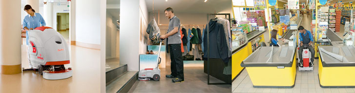 Walk behind and ride-on scrubber driers